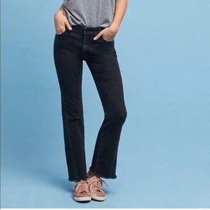 Pilcro   High-Rise Frayed Flare in Black 29